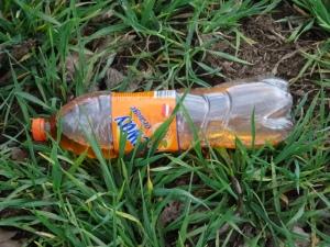 weggeworfene Plastikflasche im Gras copyright Paul Bock